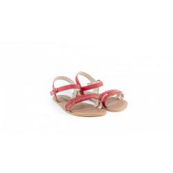Chaussure cuir barefoot Sandales Be Lenka Rouge 2 lannières