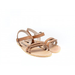 Chaussure cuir barefoot Sandales Be Lenka Marron 2 lannières