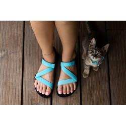 Chaussure cuir barefoot Sandales Be Lenka Turquoise et noire