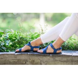 Chaussure cuir barefoot Sandales Be Lenka Bleue