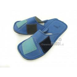 Chaussons cuir adulte patchwork fond bleu