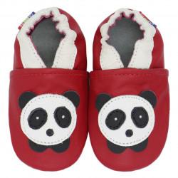 Chaussons cuir bébé Carozoo Panda fond rouge