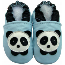 Chaussons cuir bébé Carozoo Panda fond bleu ciel