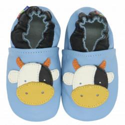 Chaussons cuir bébé Carozoo vache fond bleu clair