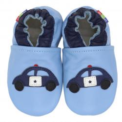Chaussons cuir bébé Carozoo Police fond bleu clair