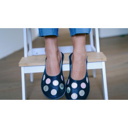 Chaussons cuirs adulte pois