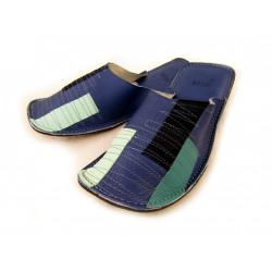 Chaussons cuir adulte rectangle patchwork fond bleu