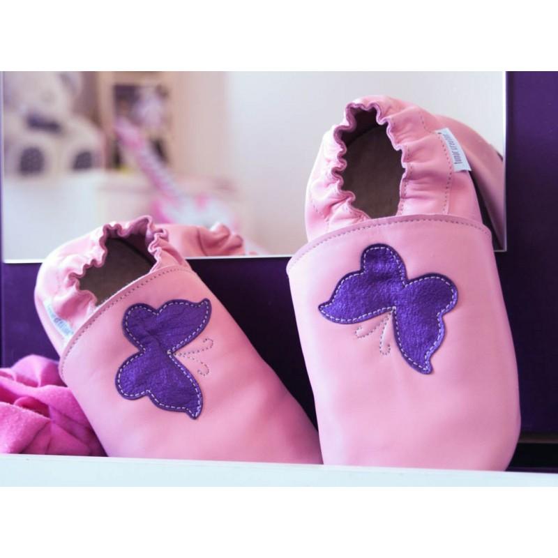 Chaussons cuir Fourrés adulte Papillon fond violet