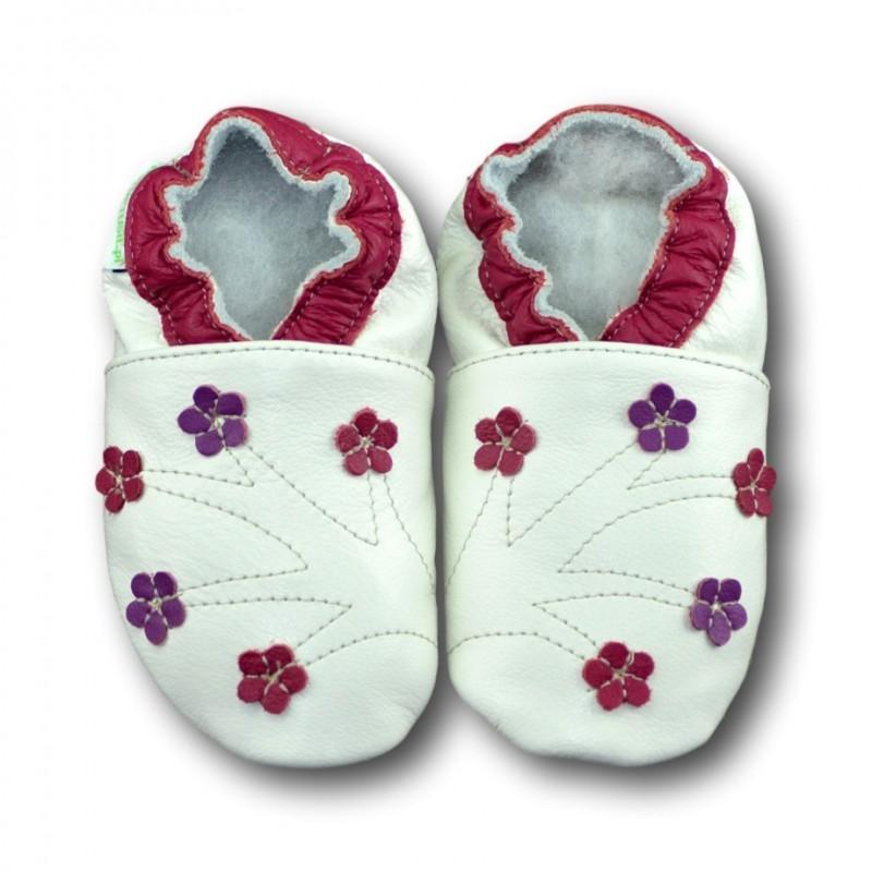Chaussons cuir souple Fleurs roses et violettes