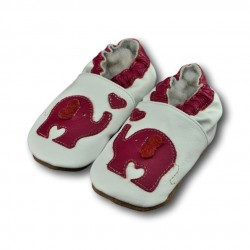 Chaussons cuir souple Elephant rose
