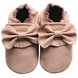 Chaussons cuir bébé Carozoo Rose