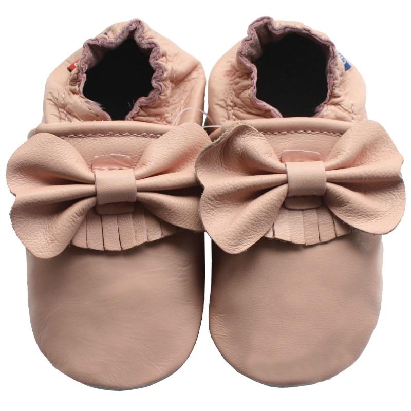 61edc8de2f735 Chaussons cuir bébé pour Fille rose