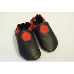 Chaussons cuir souple adulte Cercle rouge