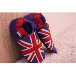 Chaussons cuir FOURRES adulte Drapeaux anglais