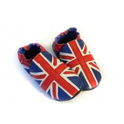 76312b856bd86 Chaussons cuir souple drapeau anglais pour adulte