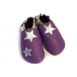 """Chaussons cuir souple \\""""Etoiles argentées sur fond violet\\"""""""