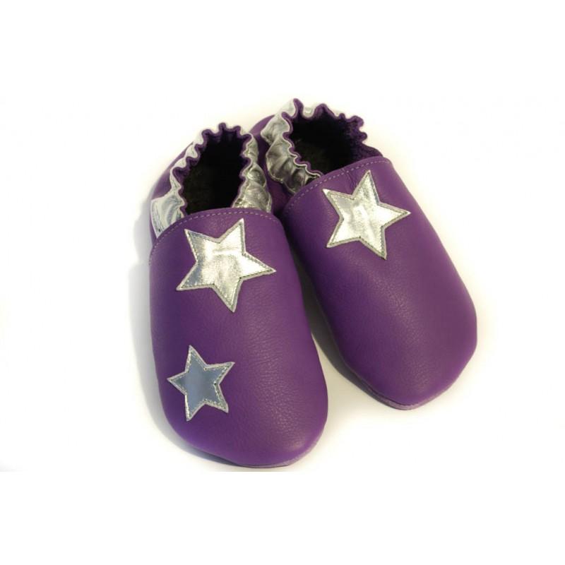 Chaussons cuir FOURRES adulte Etoiles argentées sur fond Violet