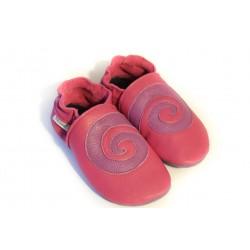 """Chaussons cuir FOURRES \\""""Spirale violette sur fond Rose\\"""""""