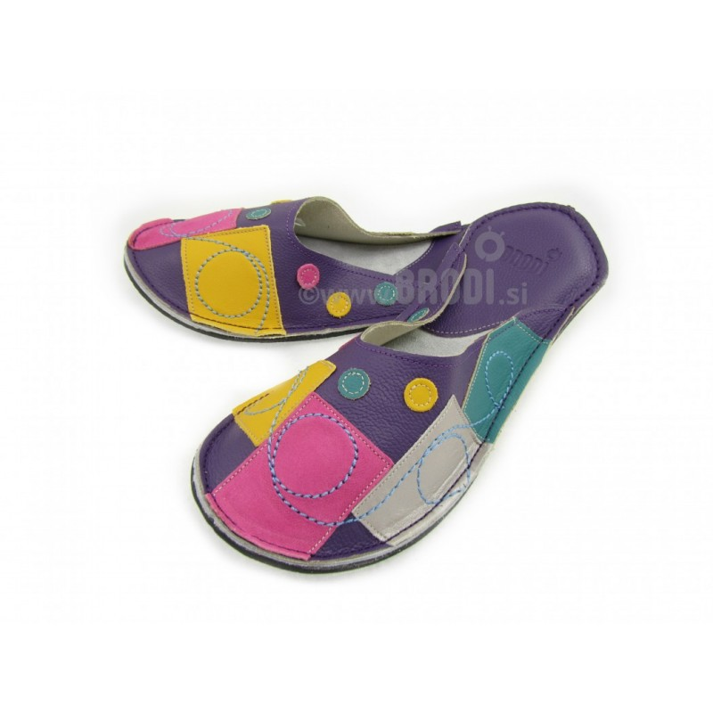 Chaussons cuir adulte Patchwork violet
