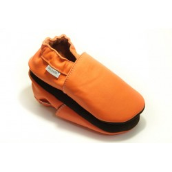 Chaussons cuir FOURRES Orange Volcan