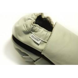 Chaussons cuir souple Gris clair