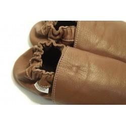 Chaussons cuir souple Marron