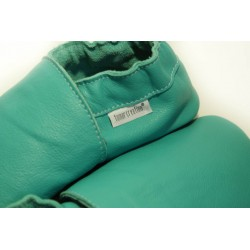 Chaussons cuir souple Bleu/Caraïbe