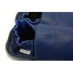 Chaussons cuir souple Bleu roi