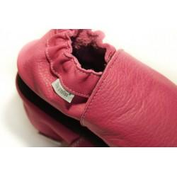 Chaussons cuir souple Rose fushia