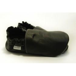 Chaussons cuir souple Noir