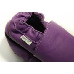 Chaussons cuir souple Violet
