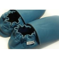 Chaussons cuir FOURRES Bleu jeans