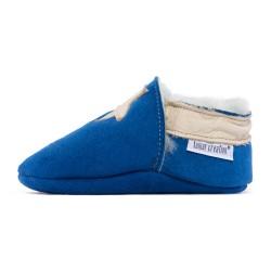 Chaussons cuir FOURRES Etoiles beige fond bleu, 100% Mouton, peau lainée
