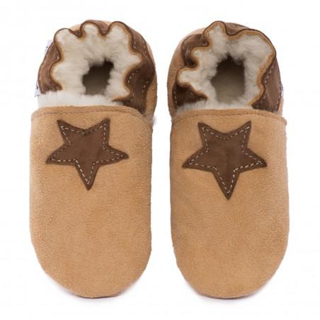 Chaussons cuir FOURRES Etoiles beige fond Marron, 100% Mouton, peau lainée