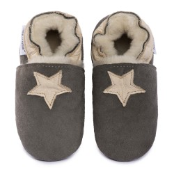 Chaussons cuir MOUTON FOURRES Etoiles beige fond gris, 100% Mouton, peau lainée
