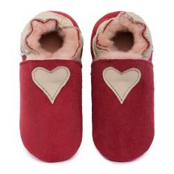Chaussons cuir FOURRES Coeur beige fond rose, 100% Mouton, peau lainée