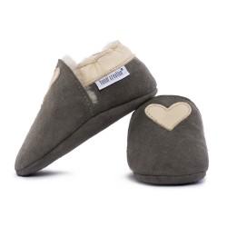 Chaussons cuir FOURRES Coeur beige fond gris, 100% Mouton, peau lainée
