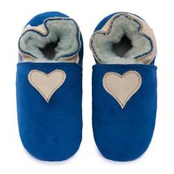 Chaussons cuir FOURRES Coeur beige fond bleu, 100% Mouton, peau lainée