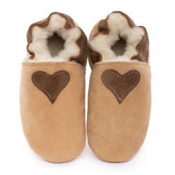 Chaussons cuir FOURRES Coeur marron fond Marron, 100% Mouton, peau lainée