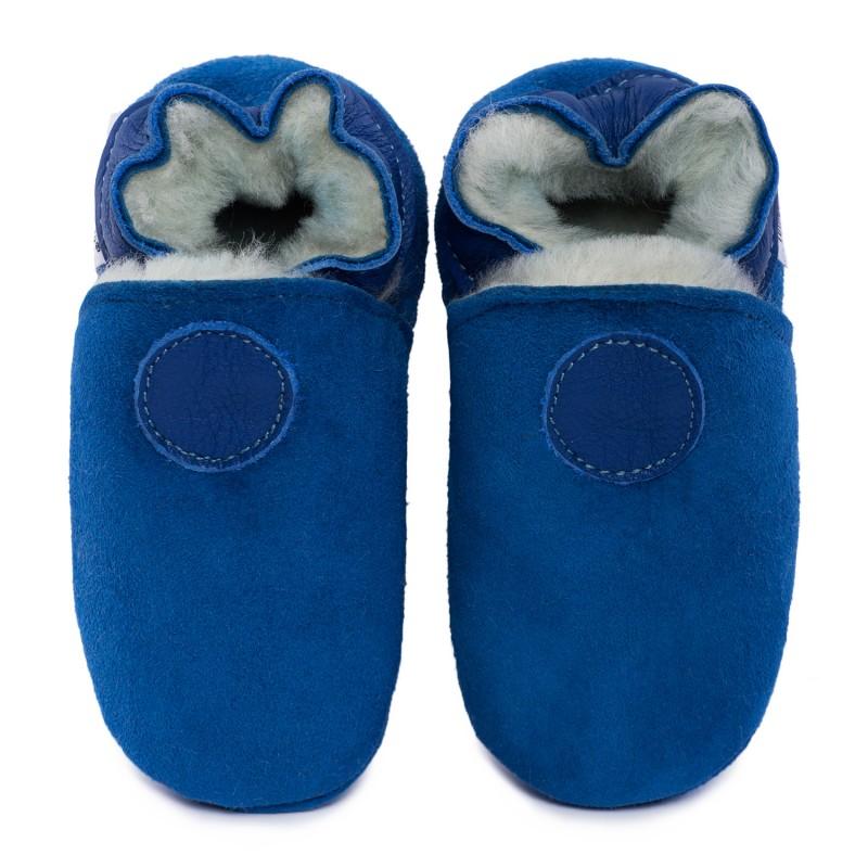 Chaussons cuir FOURRES Bleu, 100% Mouton, peau lainée