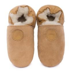 Chaussons cuir FOURRES Marron, 100% Mouton, peau lainée