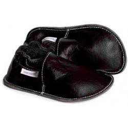 P'tites Gommes Noire, semelle caoutchouc, chaussure cuir souple