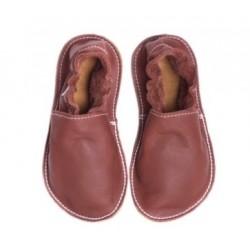 Petites Gommes Marron, semelle caoutchouc, chaussure cuir souple