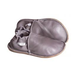 P'tites Gommes Grise, semelle caoutchouc, chaussure cuir souple