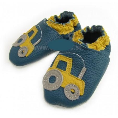 Chaussons cuir souple ANTIDERAPANTS Tracteur fond bleu