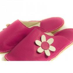 Chaussons cuir adulte Babs Fushia Fleurs