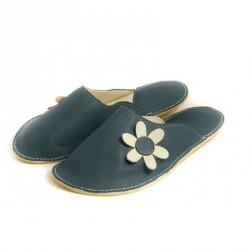 Chaussons cuir adulte Babs Bleu Fleurs