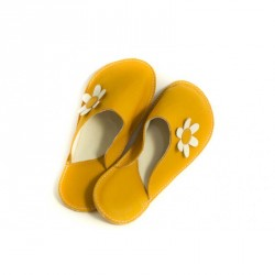 Chaussons cuir adulte Babs Jaune Fleurs