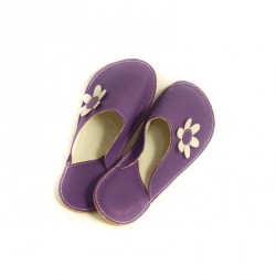 Chaussons cuir adulte Babs Violet Fleurs