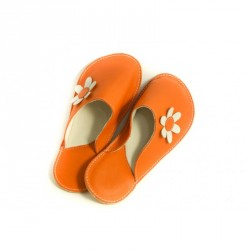 Chaussons cuir adulte Orange Bab's
